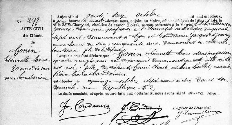 décès Étiennette Gonin 15 oct 1902