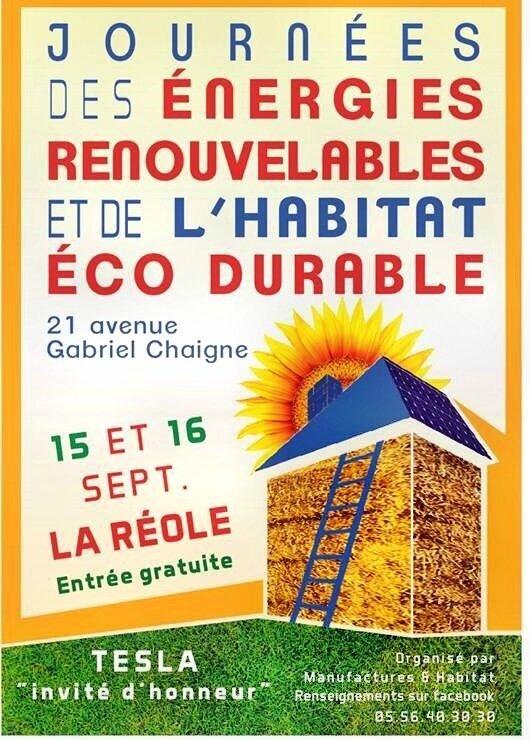 Journées énergies renouvelables La Réole 15-16 septembre 2017