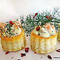 Zakouskis - mini bouchées feuilletées à la crème fromage*/saumon/aneth