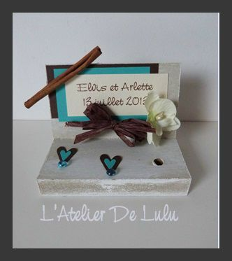 porte stylo cannelle et orchidee turquoise