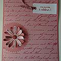Carte marguerite en rose rococo