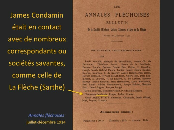Annales fléchoises 1914 Condamin, collaborateur