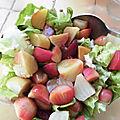 Salade de betteraves chioggia tiède vinaigrette fumée