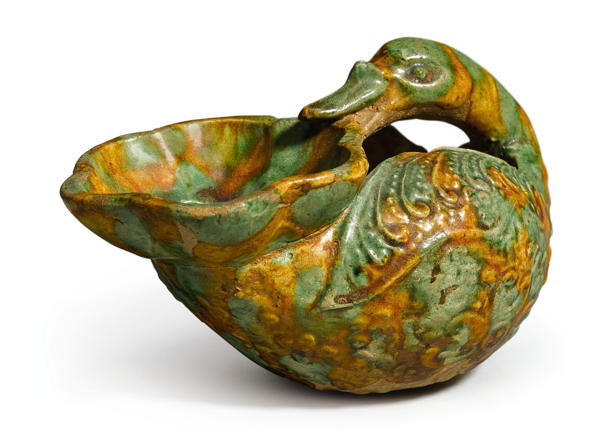 A sancai-glazed pottery bird-form oil lamp, Tang dynasty