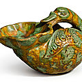 A sancai-glazed pottery bird-form oil lamp, tang dynasty (618-907)