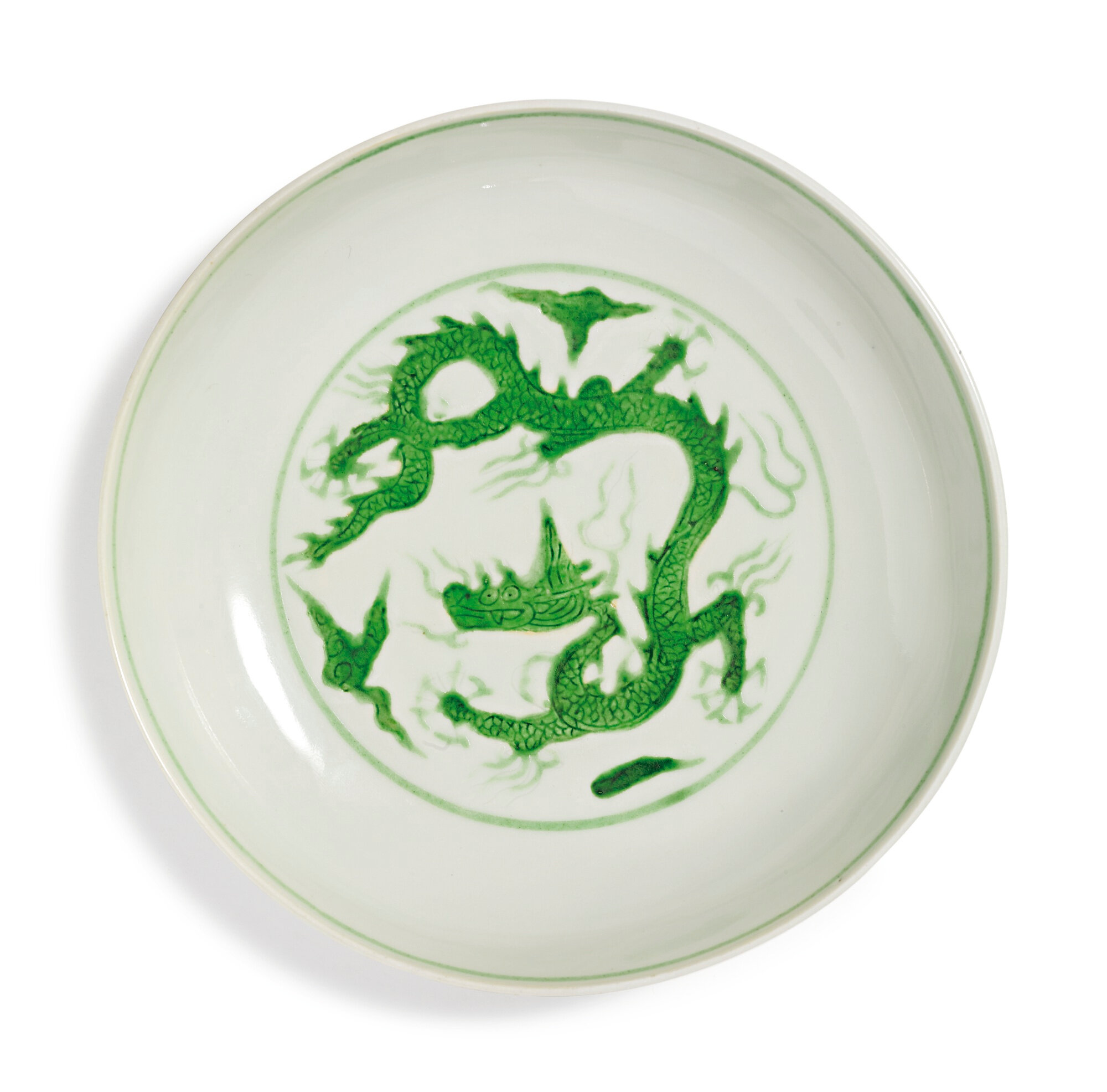A fine green-enameled 'dragon' dish, Zhengde mark and period (1506-1521)