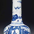 An unusual large blue and white bottle vase, kangxi period (1662-1722)
