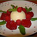 Recette : mousse chocolat blanc, menthe et purée de framboises