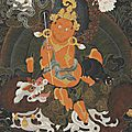 An important and exceptionally fine painting of vaishravana, tibet, 18th century