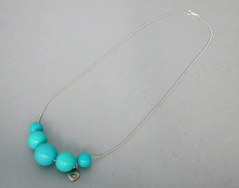 collier bleu chaine bille 3