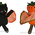 Bat and pumpkin two faced halloween doll - hma