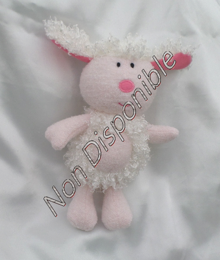 Doudou Peluche Mouton Blanc Et Rose Luminou