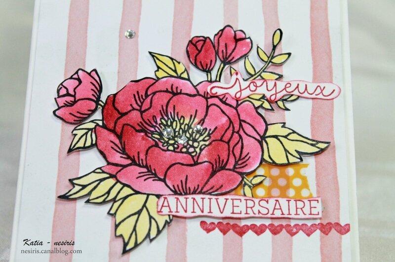 Carte fleurs d'anniversaire2 - Katia Nesiris -Démonstratrice Stampin'up