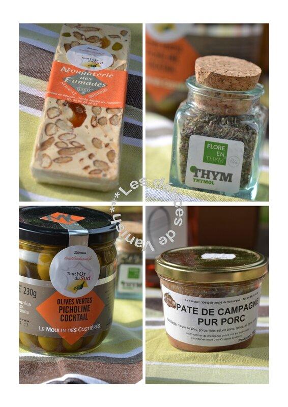 nougat, thym, picholines, olives, pâté des cévennes