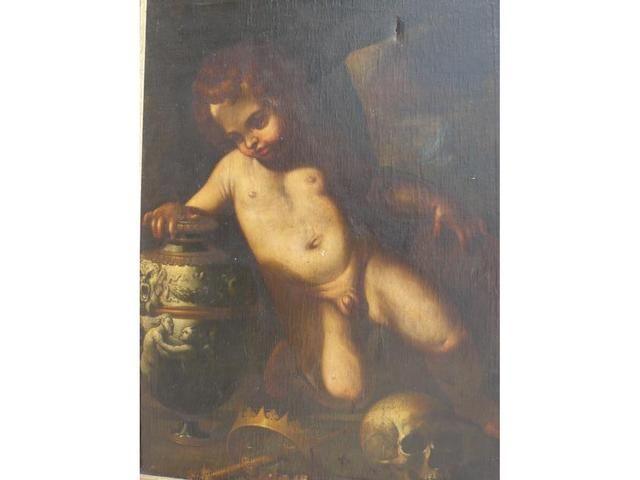 Ecole italienne du XVIIIème siècle. Vanité, Huile sur toile, 96 x 71 cm