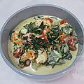 Crevettes, sauce au parmesan et épinards
