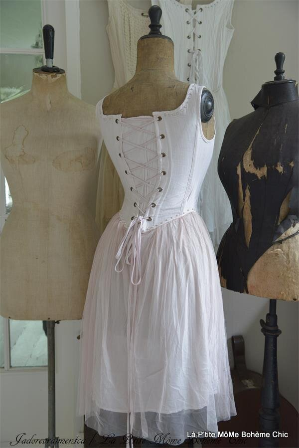 800203.Jeane d'arc Vintage tull dress corset-pink-white