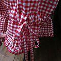 Panty en coton vichy rouge et blanc - taille élastique - lien de serrage au bas (8)