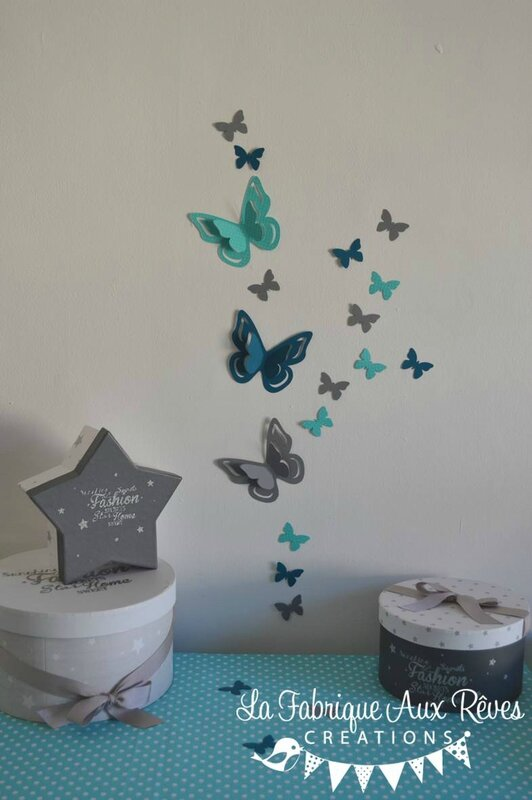 stickers papillons 3D turquoise gris bleu canard pétrole - décoration chambre bébé turquoise gris bleu canard pétrole