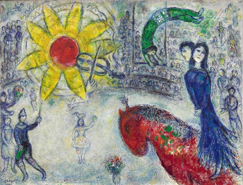 Marc Chagall, Soleil au cheval rouge ,oil on canvas, 1977