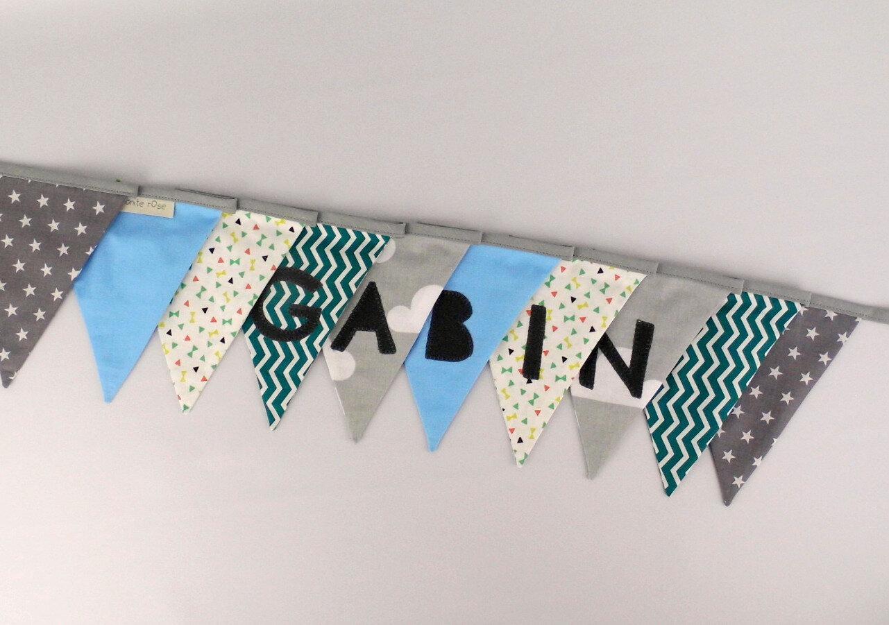 Guirlande personnalisée prénom Gabin bleu pétrole gris vert banderole décoration chambre enfant