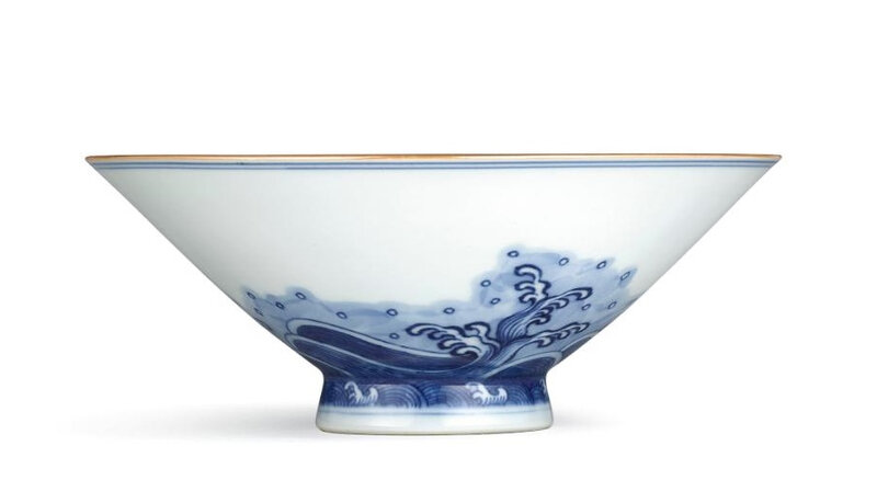 A fine blue and white 'Fish' bowl, Seal mark and period of Qianlong