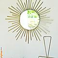 Décoration ... miroir soleil * métal doré