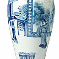 A blue and white baluster vase, qing dynasty, kangxi period (1662-1722)