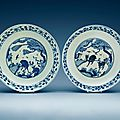 A pair of blue and white chargers, ming dynasty, wanli (1573-1619)