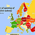 Year of opening of the first subway
