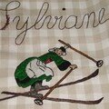 tablier en lin avec bécassine en ski