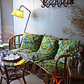 Banquette rotin ovale
