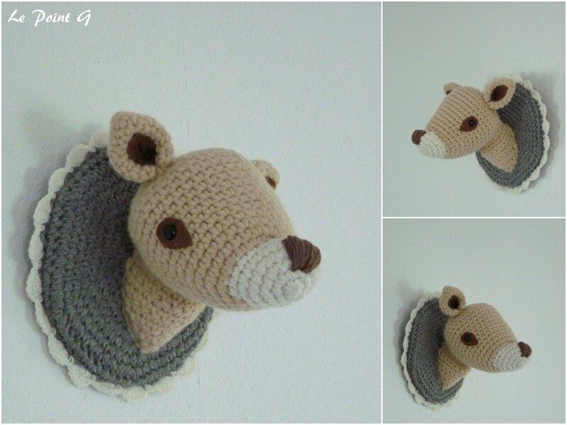 Trophée Bambi cerf faon crochet laine deco chambre enfant