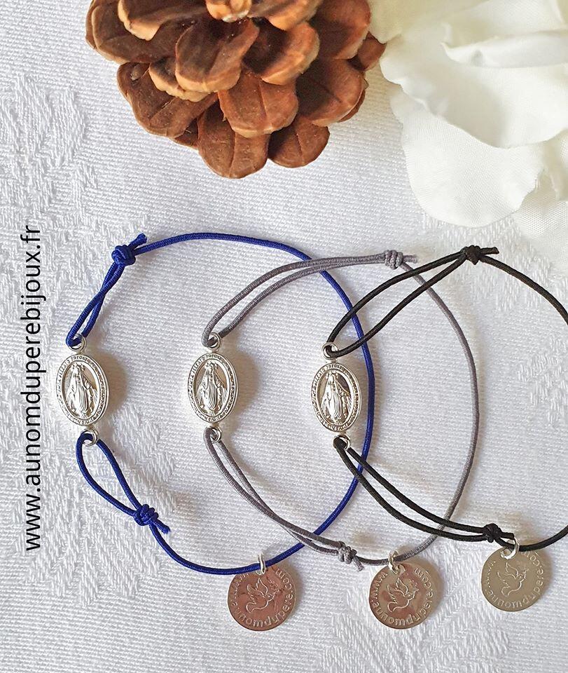 Bracelet Médaille miraculeuse sur fil élastique - 17 €