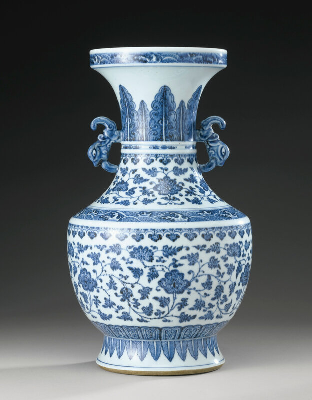 A blue and white archaistic vase, Qing dynasty, 18th century