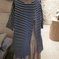 Tunique longue en maille jersey rayée marine et blanc (3)