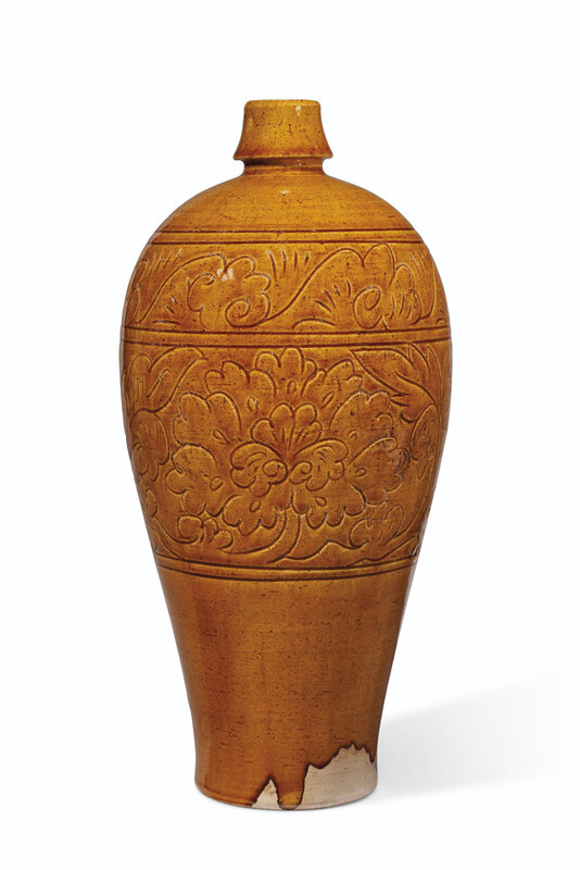 A carved amber-glazed vase, meiping, Liao dynasty (907-1125) or later