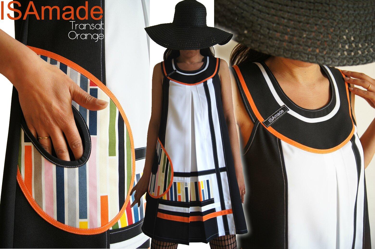 Robe trapèze Pop bicolore Graphique Noir/ Blanc/ orange & Rayures style Bayadère Multicolore
