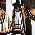 Robe trapèze Pop bicolore Graphique Noir/ Blanc/ orange & Rayures style Bayadère Multicolore