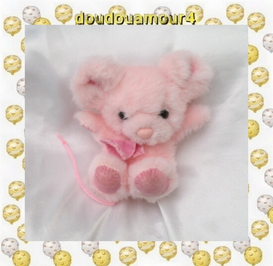 Doudou Peluche Souris Rose Assise Pinkie Russ Berrie