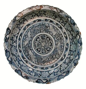Foliate Rim Charger, porcelain painted in underglaze blue, China, Yuan dynasty. National Museum of Iran.