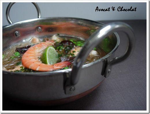 Soupe crevette ,vermicelle et champignons noirs (1)