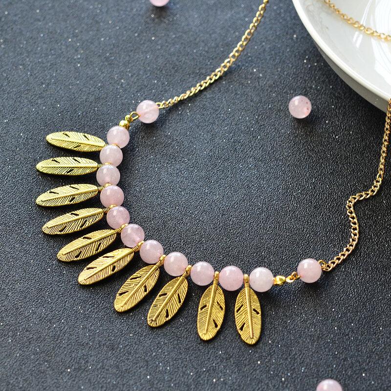PandaHall-Jewelry-Making-Idea-on-Gold-Feather-Pendant-Bib-Necklace (4)