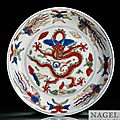 A wucai dragon dish, Ming dynasty, Wanli six character mark and period (1573-1619)