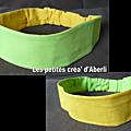 Bandeau reversible vert et jaune orangé