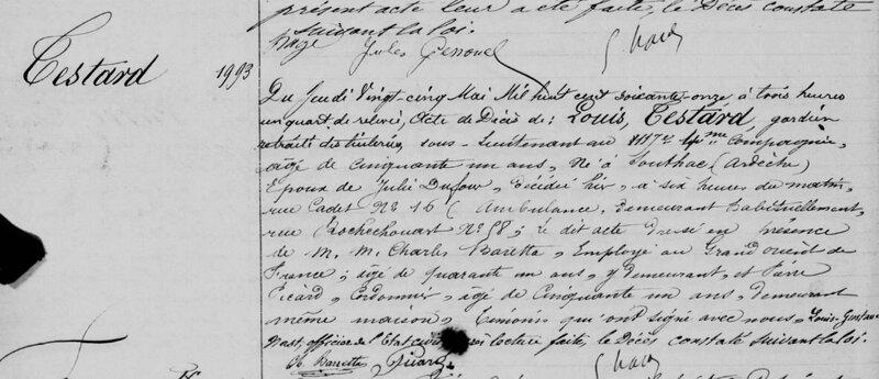 Louis Testard, décès, 25 mai 1871