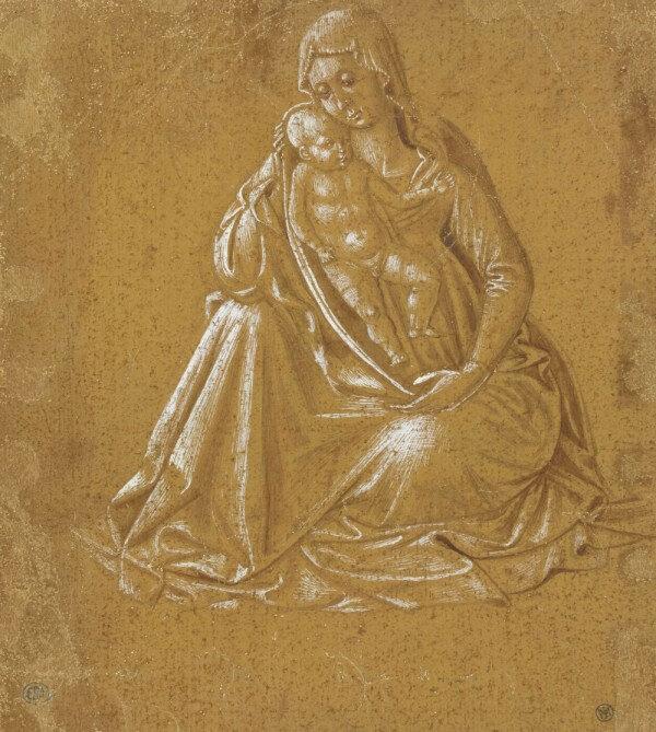 Benozzo Gozzoli, La Vierge et l'Enfant Jésus (verso) Pointe d'argent, pinceau, encre brune et gouache blanche sur papier préparé ocre vert