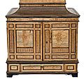 A renaissance brass and iron-mounted richly inlaid cabinet, south germany/tyrol, late 16th ct