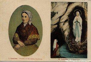 Lourdes_Portrait_Bernadette_et_grotte_1934