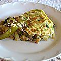Gâteau omelette farcie a l'émiette de poulet et légumes